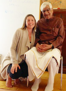 Nadine with with the master of pranayam, Tiwariji, taken in August 2013
