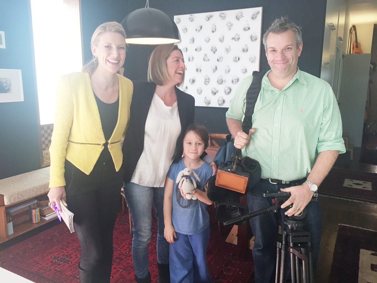 Angie Asimus and Greg from Channel 7 plus local lad, little Charlie