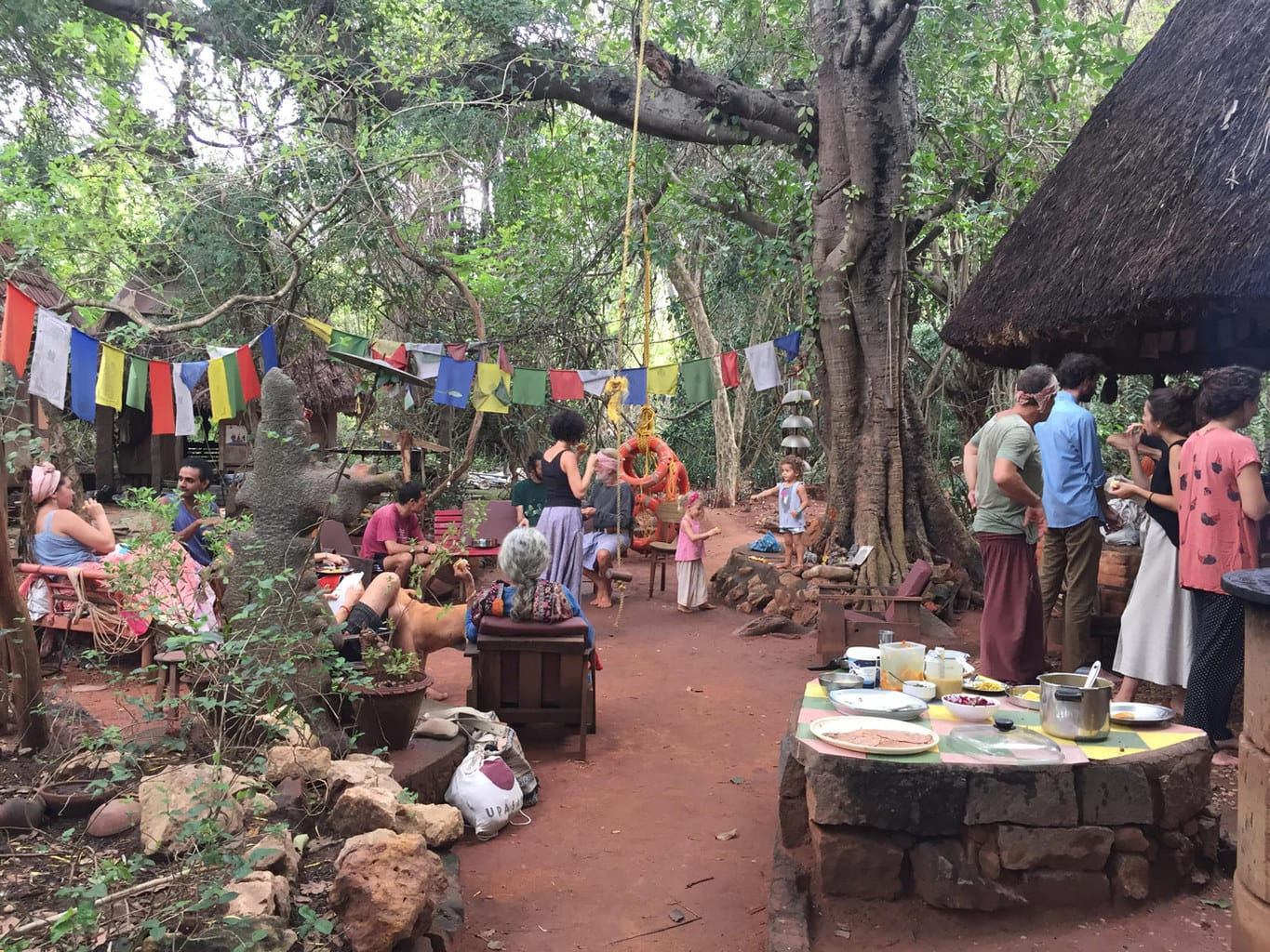 Sunday pot luck with some of the founders of Auroville
