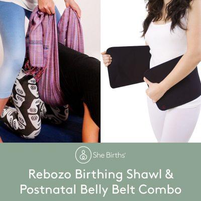 She Births® Rebozo Birthing Shawl and Postnatal Belly Belt Combo